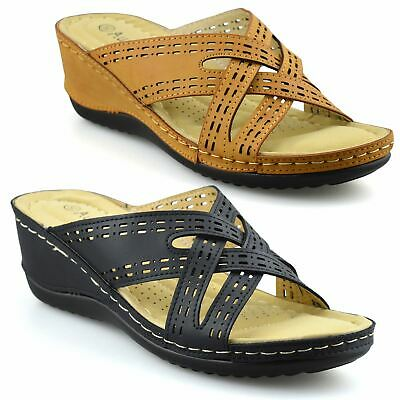 Ladies Womens New Mid Wedge Heel Slip On Casual Summer Mules Sandals Shoes Size