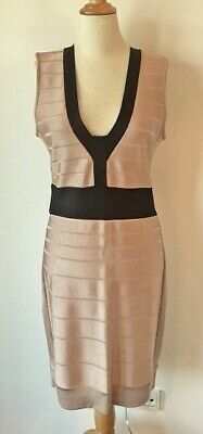 Luxus FRENCH CONNECTION Designer Viskose Kleid Gr. M / 38-40 beige schwarz