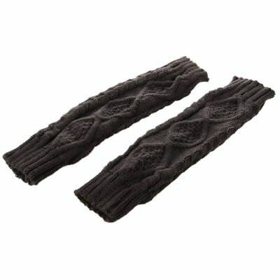Womens Cashmere Protection Knitted Wool Long Fingerless Arm Warmers Gloves W6K8