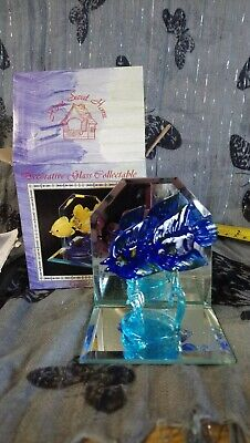 Brand New home sweet home decorative glass collectable tropical fish. blue fish