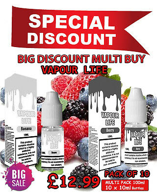 10X10ml VAPOUR LIFE E LIQUID (0,3,6,12,18mg) JUICE - ECIG ELIQUID REFILL VAPE