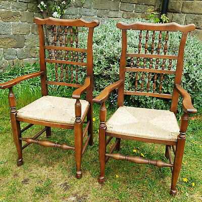 Pair of Lancashire Oak & Rush Seat Spindle Back Country Carvers Armchairs