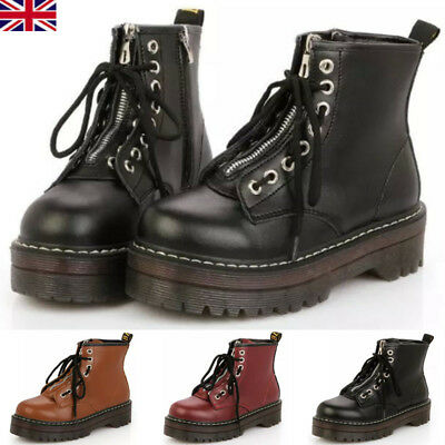 Womens Ladies Zip Creepers Chunky Cleated Platform Goth Punk Ankle Boots Shoes**
