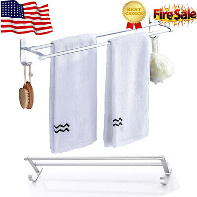 Double Shelf Wall Mounted Bathroom Towel Rail Rack Holder Hook Aluminum alloy US
