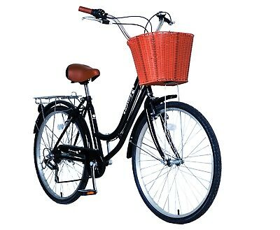 "Lightweight 26"" 6 Speed Lady Town Dutch Bike & Basket & Bell 5Year Warranty Gift"