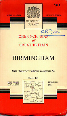 1962 Vintage Ordnance Survey One-Inch Seventh Series Map Sheet 131 Birmingham