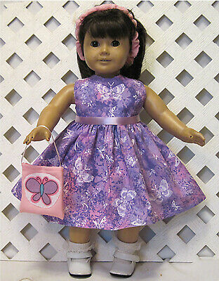 """HANDMADE Doll Clothes Fits 18"""" American Girl Doll PINK PURPLE BUTTERFLY DRESS"""