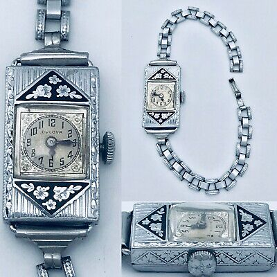 Antique 1930s Art Deco Bulova Enamel Flowers Filigree Mechanical Ladies Watch