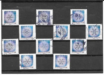 France 2018.FLOCONS of Neige.lot x 11 Definitives. Self-Adhesive Postmarks Round