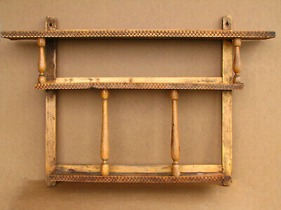 Old Antique Primitive Wooden Wood Wall Shelf Rack Holder Wall Hanger Rustic 60s