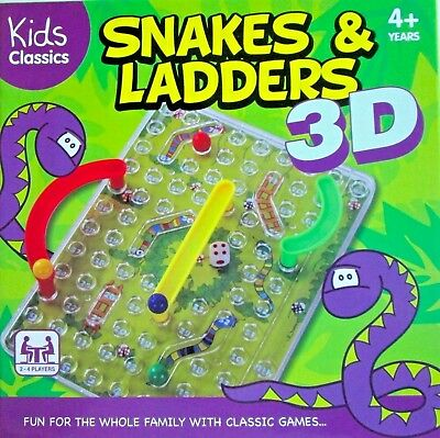 3D Snakes And Ladders Traditional Board Game Fun Family Xmas Kids Toys Gift New
