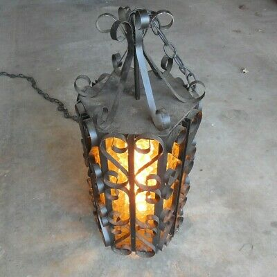 Vintage Hanging Swag 6 Panel Metal Light Gothic Spanish Revival Wrought Iron