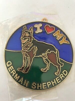 Vintage 1980s I heart my GERMAN SHEPHERD Suncatcher HOW COOL Gotta Love It SC-14
