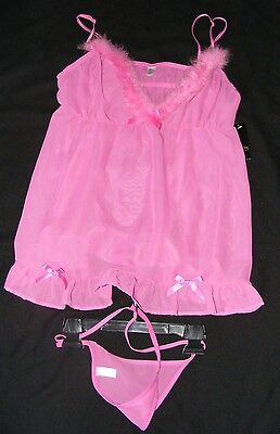 New Woman's Medium Pink passion forever baby doll camisole 2 piece set thong