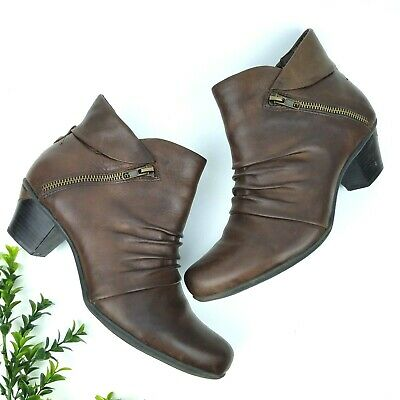 358c96babfa96 EARTH Pegasus Ankle Boots Women's 10D Wide Leather Booties Side Zip Shoes  Brown