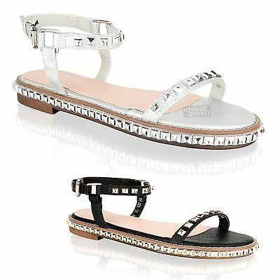 Womens Ladies Flat Studded Strappy Ankle Strap Holiday Summer Sandals Shoes Size