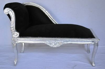LOUIS XV BENCH FRENCH STYLE SEAT VINTAGE FURNITURE black silver wood