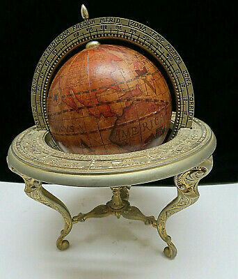 Vintage Ornate Brass Table Old World Globe