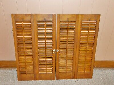 COLONIAL WOOD INTERIOR LOUVERED WINDOW SHUTTER PAIR  28 in TALL  31 in WIDE