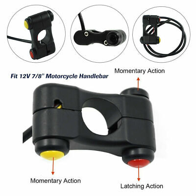 0DD7 Aluminum Quad ATV Pit Bike Handlebar LED Switch Rocker Button 12V Universal
