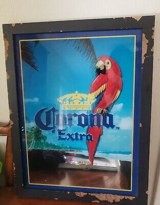 Vintage Corona beer sign Parrot 🦜 23 inch high 17 inch large mirror