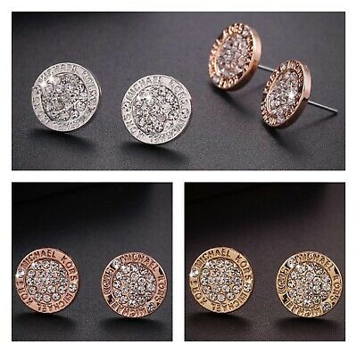 New fashion Logo Gold Silver Rose Round Crystal Stud Earrings Jewerly