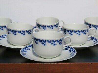 "SET: 6 (!) Teetassen RÖRSTRAND ""Scandinavia"" ""Swedish Blue"" MID CENTURY DESIGN"