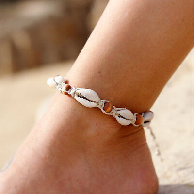 Natural Sea Shell Bead Anklet Chain Cord Bracelet Boho Hippy Surf Foot Jewellery