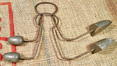 2 Antique Edwardian 1920s Steel Wire - Wood Shoe Stretcher Keeper VHTF RARE Pair