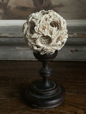 Antique 19th Century Chinese Carved Puzzle Ball On Turned Hardwood Stand