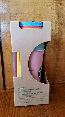 Starbucks Color Changing Reusable Cold Cup Tumblers NEW 5 Pack Cups Lids Straws