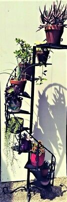 Vintage Wrought Iron Metal Spiral Staircase Plant Stand 7 FEET TALL!!!!