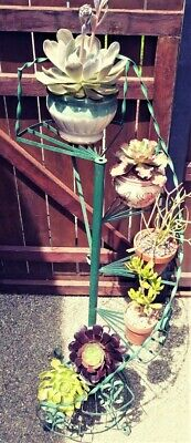 """Vintage Green Wrought Iron Metal Spiral Staircase Plant Stand 63"""" tall"""