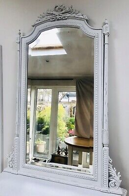 LOVELY LARGE FRENCH ANTIQUE 19th CENTURY WALNUT GREY MIRROR C1900