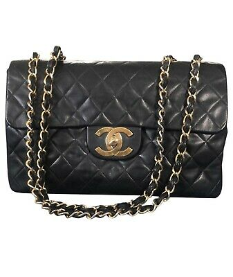 80d69f27ef61 100%Auth CHANEL Vintage Jumbo XL Flap Bag Maxi Chain Shoulder Quilted GHWW34