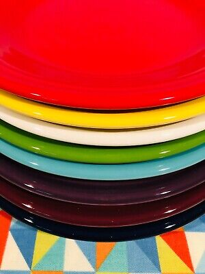 "NEW FIESTA 2nds OOPS BRIGHT MIX SET 8 FIESTAWARE 10.5"" MIXED COLOR DINNER PLATES"
