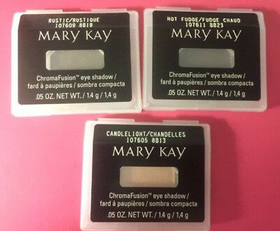 Lot of 3 Mary Kay Eye Shadows: Candlelight, Rustic & Hot Fudge YOU GET 1 OF EACH