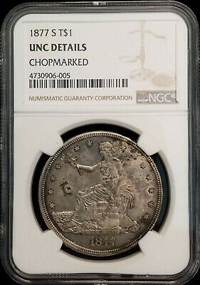 1877-S Trade Silver Dollar $1 Chop Marks NGC UNC Uncirculated BU Details