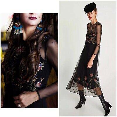 10127e9e Nwt Zara Aw17 Sheer Tulle Embroidered Floral Midi Dress Size Xs Black