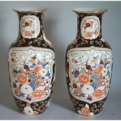 Pair Famille Noir Style Hand Painted Porcelain Chinese Vases Floral Decor