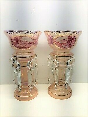 Antique Opaque Pink With Handpainted Scenes Mantle Lustres - Pair