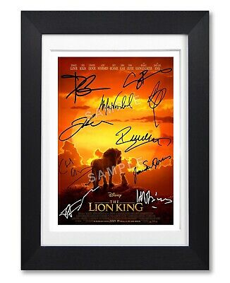 The Lion King Movie Cast Signed Poster Print Photo Autograph Gift 2019 Film