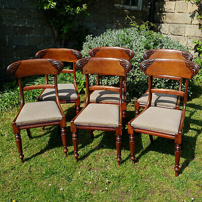 Early Victorian Bar Back Mahogany Set of 6 Dining Chairs C1850 (Antique)