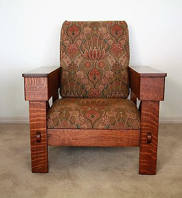 Rare Antique American Arts And Crafts Mission Oak Morris Chair Circa 1910