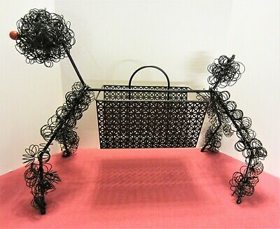 Mid Century Wire French Poodle Magazine Rack Black ala Frederick Weinberg