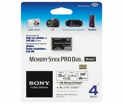 Sony Memory Stick 4GB pro Duo Mark 2 Videocamera Flash Card 4 GB G MS-MT4G