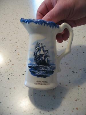 Vintage Guilford Connecticut Antique Small Pitcher With Ship.