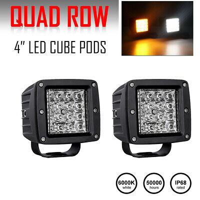 """2X 4"""" Spot Led Work Light Bars Backup Pods Offroad UTE Tractor Cube Dual Color"""