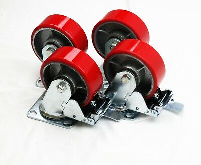 "Casters 5"" Heavy Duty Cast Iron Hub Core Poly Wheel Non Skid 2 Brakes / 2 Rigid"