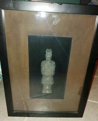 "CHINESE TERRACOTTA ANTIQUE EMPEROR WARRIOR SOLDIER STATUE 6"" In Framed Case"